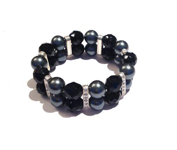 sort-grå-perle-armbånd