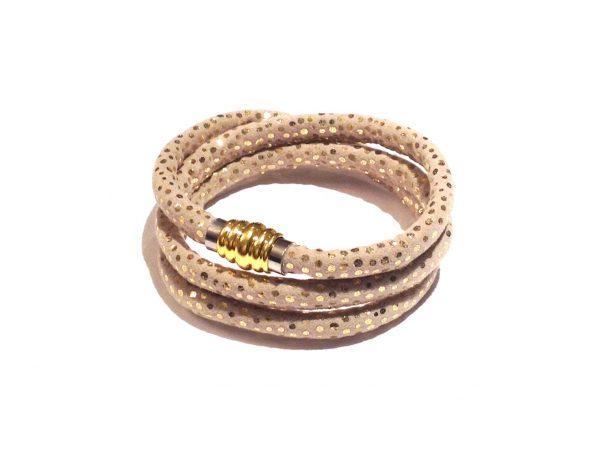 gull-beige-prikker-armbånd