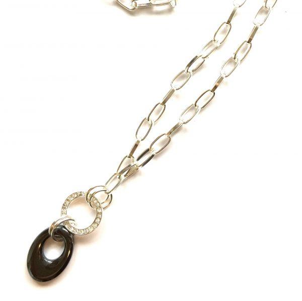 sort-blodstein-sølv-lang-smykke-halskjede
