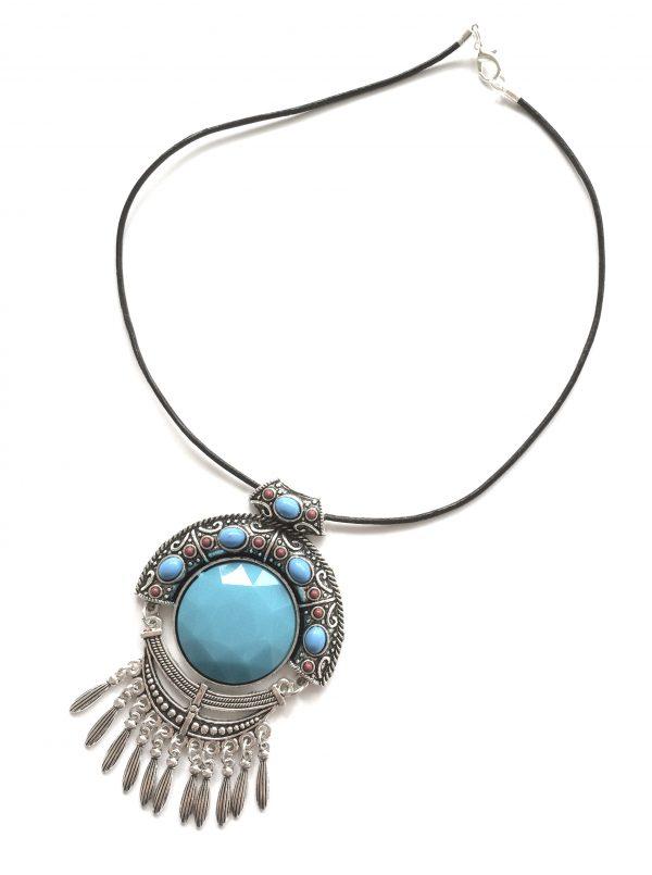 indianer-turkis-blå-bohem-lær-smykke