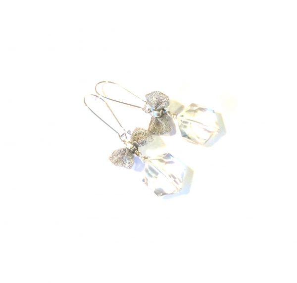 blank-hexagon-glass-sløyfe-sølv-øreanheng-ørepynt