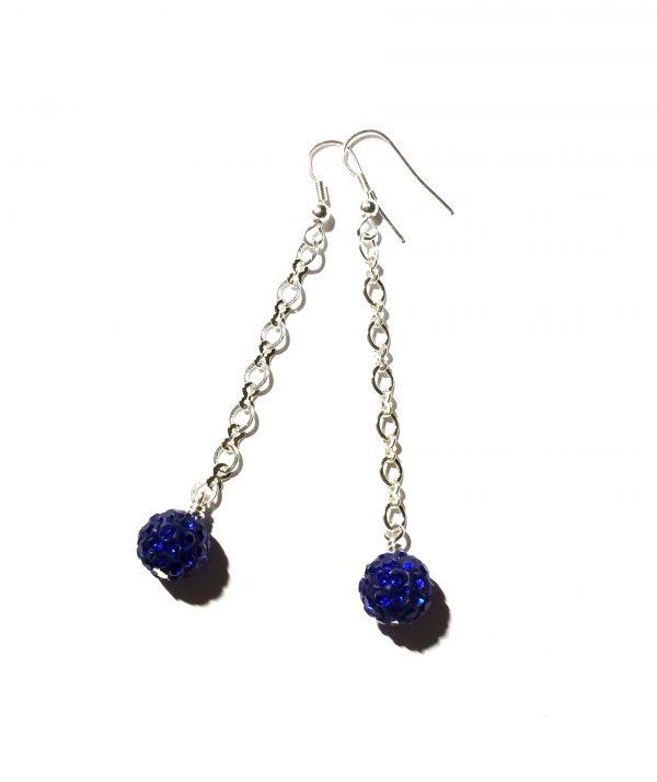 blå-klassisk-sølv-bling-glitter-øreanheng-ørepynt