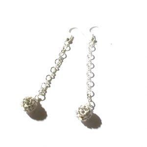 hvit-klassisk-sølv-bling-glitter-øreanheng-ørepynt