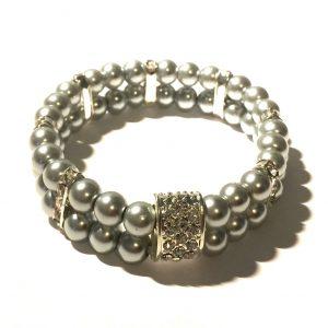 grå-perle-glitter-bling-elastisk-armbånd