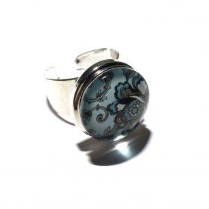 blå-turkis-blomst-justerbar-onesize-glass-ring