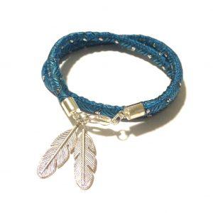 turkis-blå-fjær-bohem-armbånd