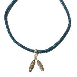 turkis-blå-bohem-fjær-smykke