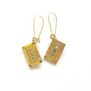 retro-gull-kassett-morsom-øreanheng-ørepynt