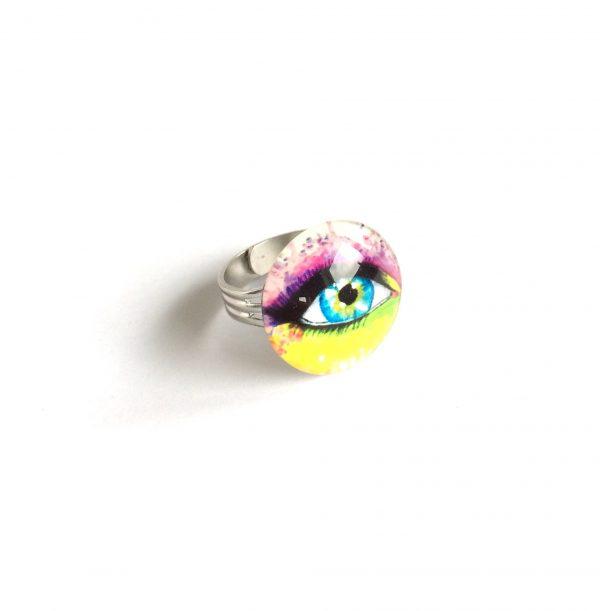 morsom-flerfarget-fargerik-morsom-øye-justerbar-onesize-ring