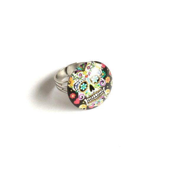sort-hodeskalle-shescull-justerbar-sølv-ring