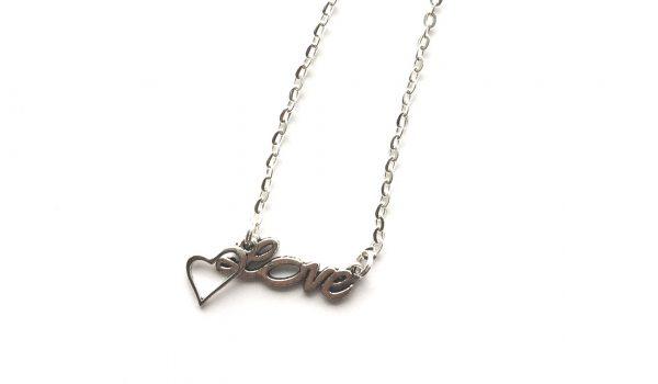 love-hjerte-sølv-smykke-halskjede