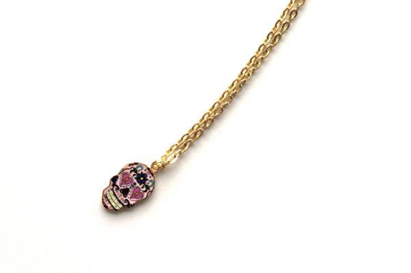 hodeskalle-shescull-morsom-rosa-smykke-halskjede