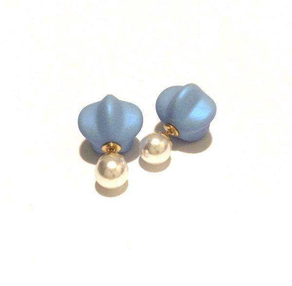 blå-perle-doble-øredobber-ørepynt