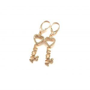 rosegull-lucky-nøkkel-bling-glitter-øreanheng-ørepynt