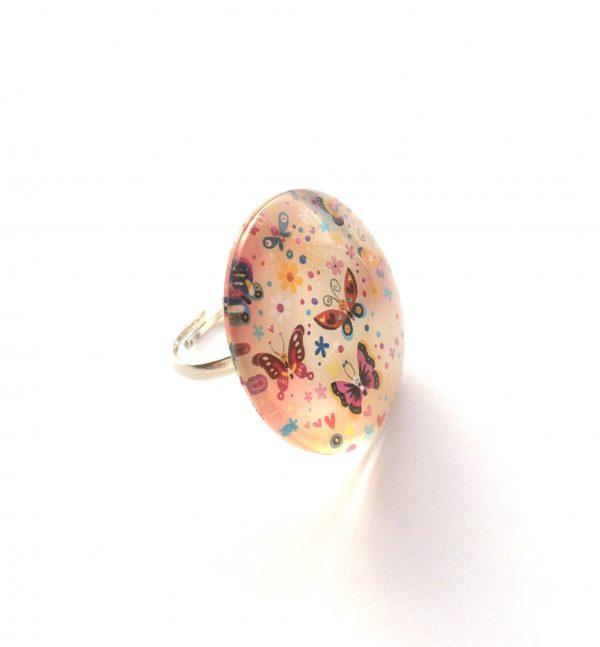 rosa-sommerfugl-glass-justerbar-onesize-ring