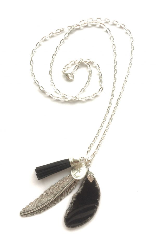 sort-agat-stein-fjær-smykke-halskjede