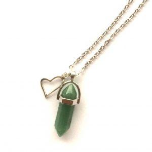 grønn-adventurin-stein-hjerte-smykke-halskjede