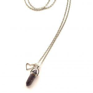 lilla-ametyst-stein-hjerte-smykke-halskjede