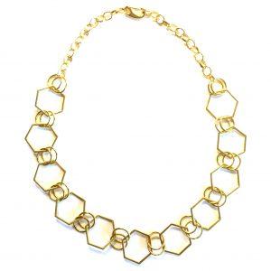 gull-geometrisk-hexagon-smykke-halskjede