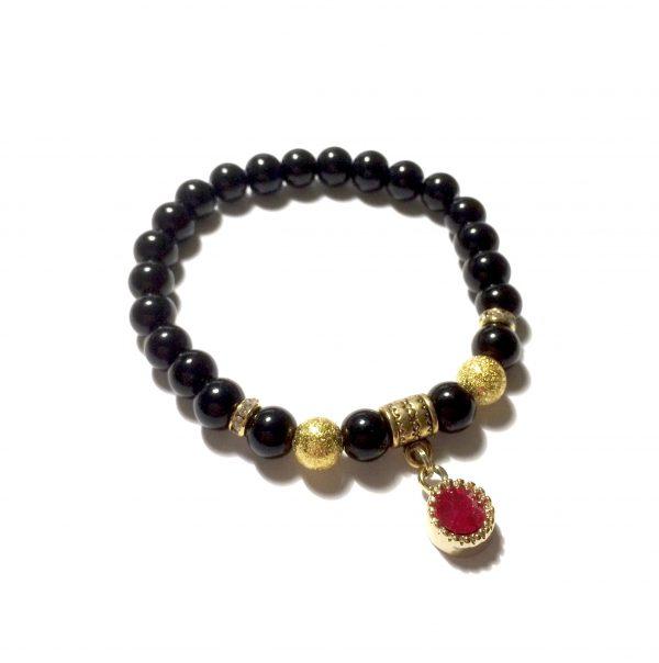 rød-sort-glass-gull-armbånd