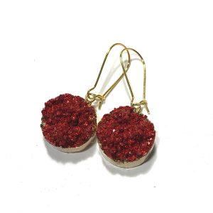 rød-druzy-glitter-øreanheng-ørepynt