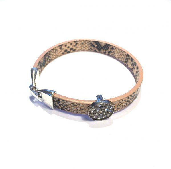 rosa-brun-slange-print-armbånd