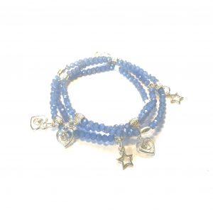 blå-sølv-glass-charms-armbånd