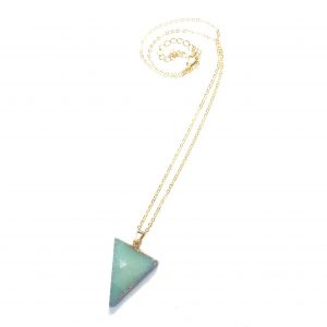 turkis-stein-trekant-triangel-smykke-halskjede