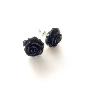 sort-rose-blomst-øredobber-ørepynt