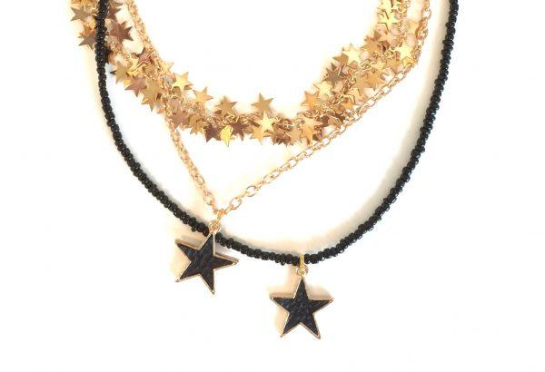 stjerne-sort-gull-smykke-halskjede