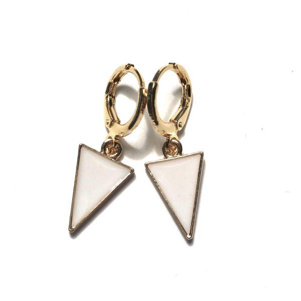 hvit-trekant-geometrisk-gull-øreanheng-ørepynt