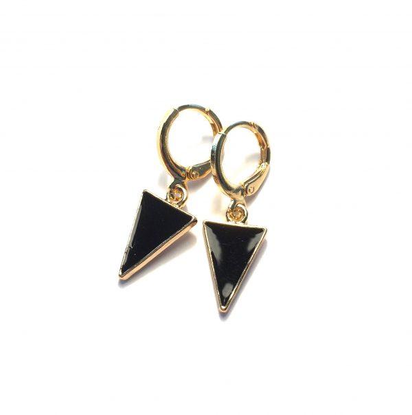 sort-trekant-geometrisk-gull-øreanheng-ørepynt