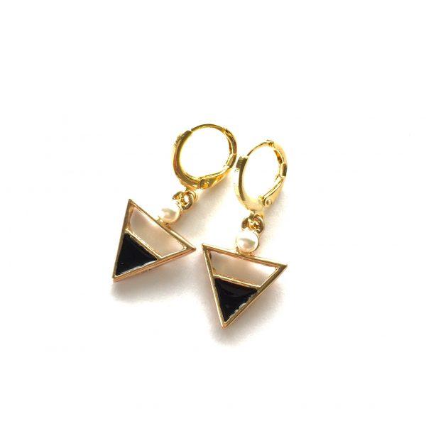 sort-perle-trekant-gull-øreanheng-ørepynt