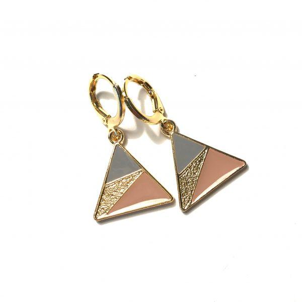 rosa-grå-gull-triangel-geometrisk-øreanheng-ørepynt
