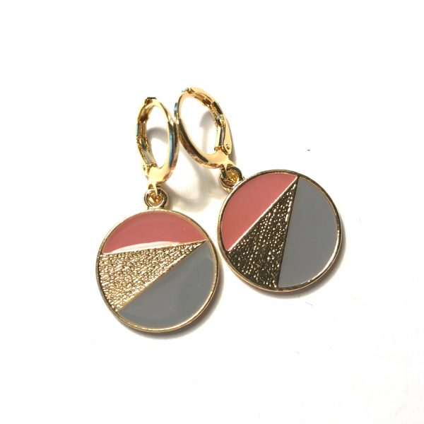 rosa-grå-gull-geometrisk-øreanheng-ørepynt