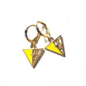 gul-gull-trekant-øreanheng-ørepynt
