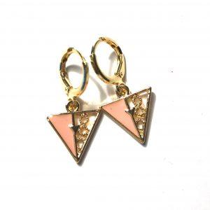 rosa-gull-trekant-øreanheng-ørepynt