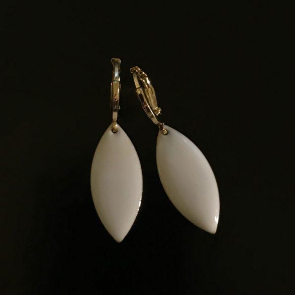 14K-gull-hvit-ørepynt-øreanheng-øreringer