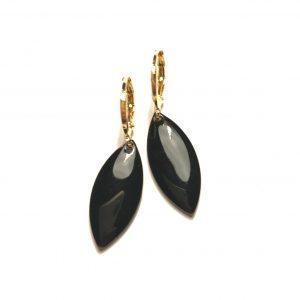 14K-gull-sort-ørepynt-øreanheng-øreringer