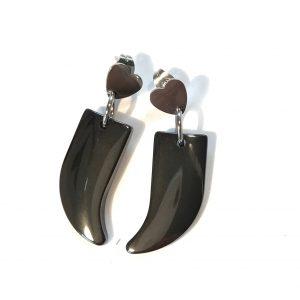 sort-grå-blodstein-hematitt-tann-stål-hjerte-øreanheng-ørepynt