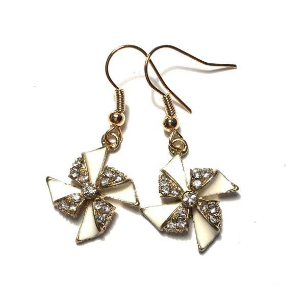 hvit-beige-bling-glitter-sommer-vindmølle-morsom-gull-øreanheng-ørepynt