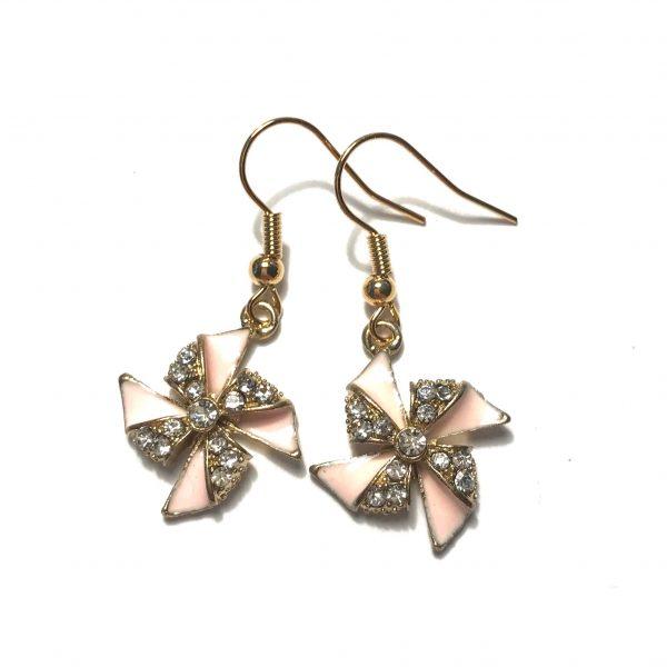 rosa-bling-glitter-sommer-vindmølle-morsom-gull-øreanheng-ørepynt