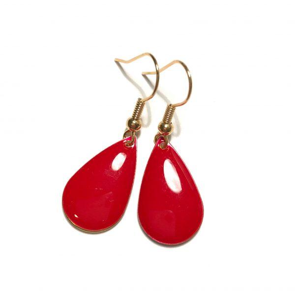 rød-jul-dråpe-øreanheng-ørepynt