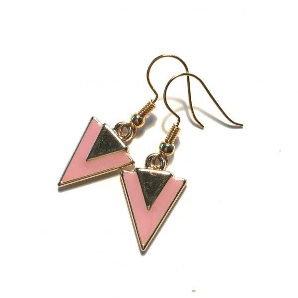 rosa-trekant-geometrisk-gull-øreanheng-ørepynt