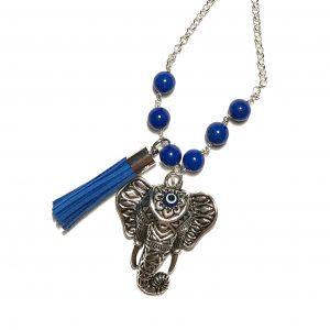 blå-lais-lazuli-elefant-smykke-halskjede