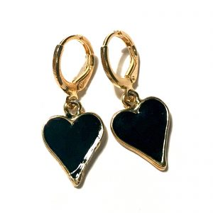 sort-hjerte-spar-gull-ørepynt-øreanheng