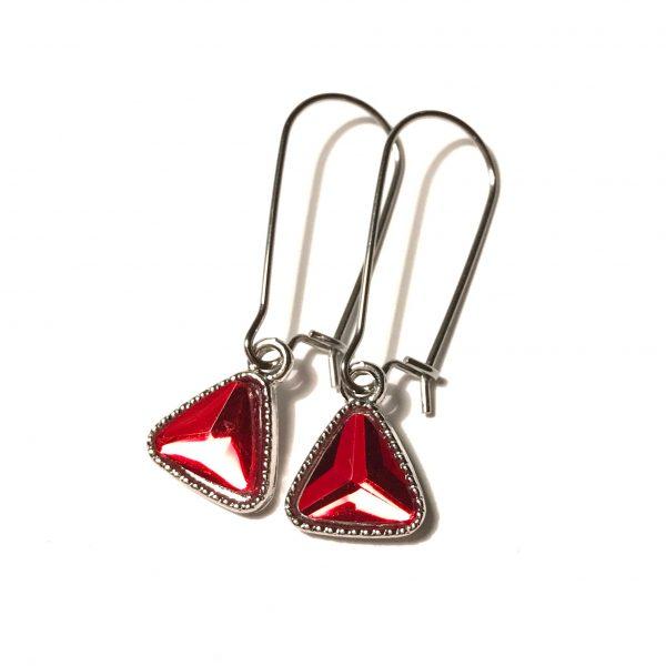 rød-triangel-stål-ørepynt-øreanheng
