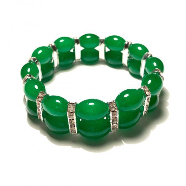 grønn-glass-elastisk-armbånd