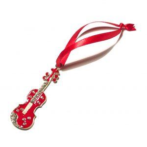 gull-rød-bling-fele-fiolin-instrument-juletrepynt-julepynt