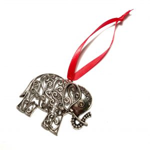 sølv-elefant-rød-juletrepynt-julepynt